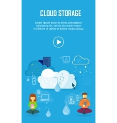 Cloud storage video web banner in flat style vector