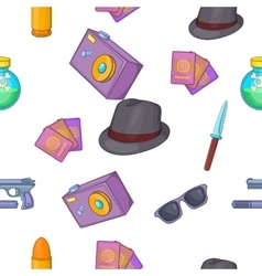 Detective pattern cartoon style vector
