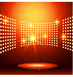Beautiful podium with many lights vector