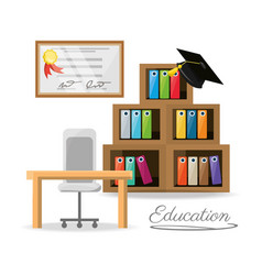 Nice office with bookcase and diploma vector
