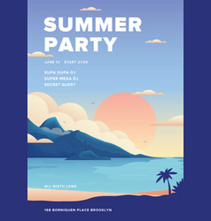 Beautiful summer party poster featuring beach view vector