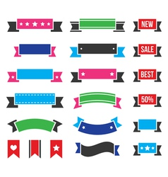 Retro ribbons colorful vintage bookmarks set vector image