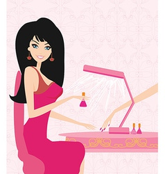 Lady doing manicure in beauty salon vector