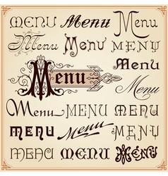 Menu vintage lettering texts vector
