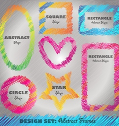 Set of Colorful Doodled Frames vector image