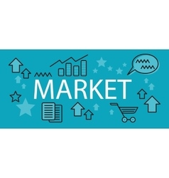 Market business concept banner vector