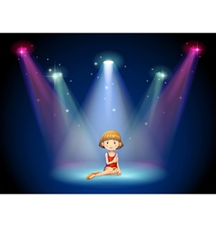 A girl acting on the stage with spotlights vector