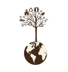Brown color world with tree of recycling vector