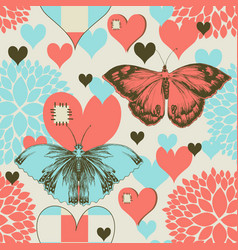 Butterflies and hearts retro love pattern vector