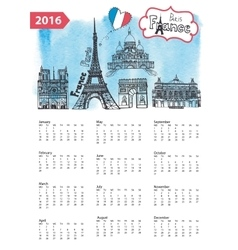 Calendar 2016Paris Landmarks skylinewatercolor vector image