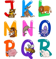 Cartoon colorful alphabet with animals vector