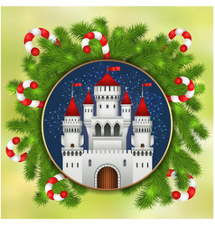 christmas white castle fireworks and fir-tree vector image