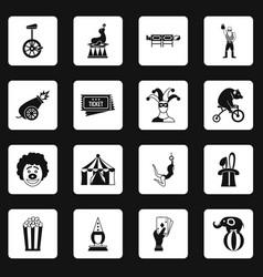 Circus entertainment icons set squares vector