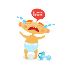 Cute baby boy cry toddler cartoon infant in diaper vector