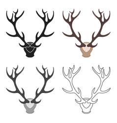 Deer antlers horns icon in cartoon style isolated vector