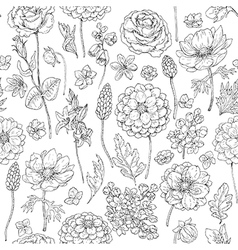 doodle flowers seamless vector image