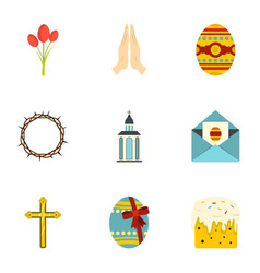 easter icon set flat style vector image vector image