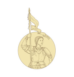 Female knight holding flag circle drawing vector
