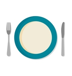 Flat design set with a fork knife and dinner vector image vector image