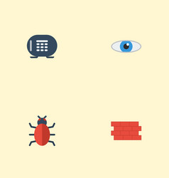 flat icons virus safe vision and other vector image