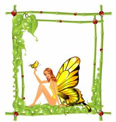 frame and girl vector image