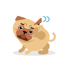 Funny pug dog character scratching an itch vector
