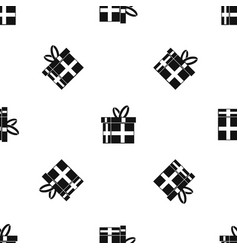 gift in a box pattern seamless black vector image vector image