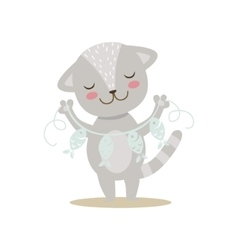 Grey Little Girly Cute Kitten With Paper Garland vector image vector image