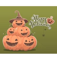 halloween of pile of decorative orange pumpk vector image