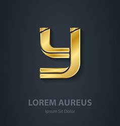 Letter Y elegant gold font Template for golden vector image