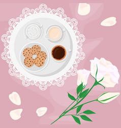 Morning coffee milk sugar vector