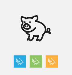 of zoo symbol on piggy outline vector image vector image