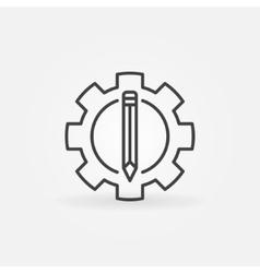 Pencil in the gear icon vector