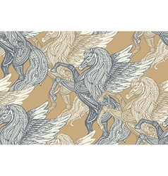 Seamless pattern with hand drawn pegasus vector
