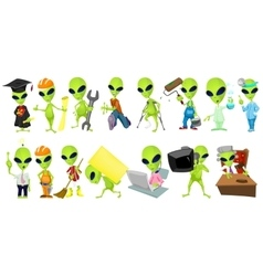 set of aliens profession vector image vector image