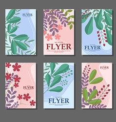 Set of blue and pink vertical cards with flowers vector image vector image