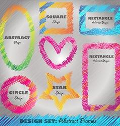 Set of Colorful Doodled Frames vector image vector image