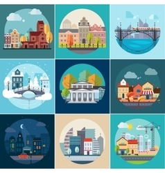 Set of Different Landscapes in the Flat Style vector image