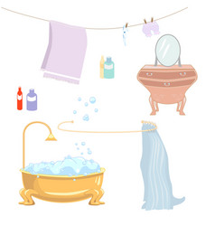 Set of isolated items from the bathroom vector