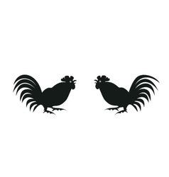 Silhouettes of roosters on white vector
