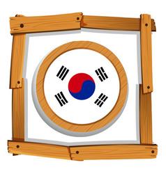 South korean flag in round frame vector
