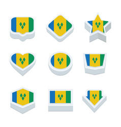 st vincent amp the grenadines flags icons and vector image vector image