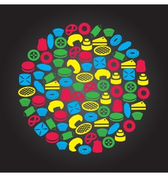 sweet desserts color icons in circle eps10 vector image