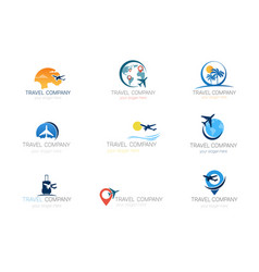 travel company logos set template tourism agency vector image