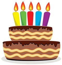 vector birthday cake with burning candles vector image