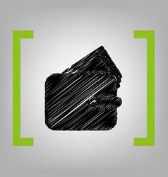 wallet sign black scribble vector image