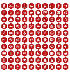 100 coffee cup icons hexagon red vector