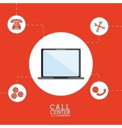 Laptop call center design vector
