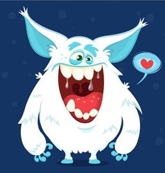 Cute cartoon monster yeti bigfoot character vector