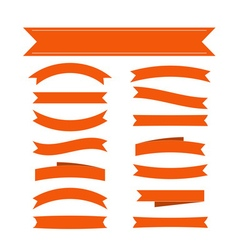 Orange ribbon banners set vector